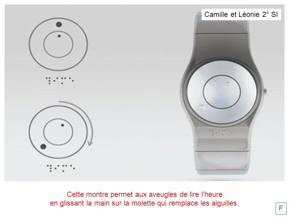 Cette montre permet aux aveugles de lire lheure en glissant la main sur la molette qui remplace les aiguilles. F Camille et Léonie 2° SI
