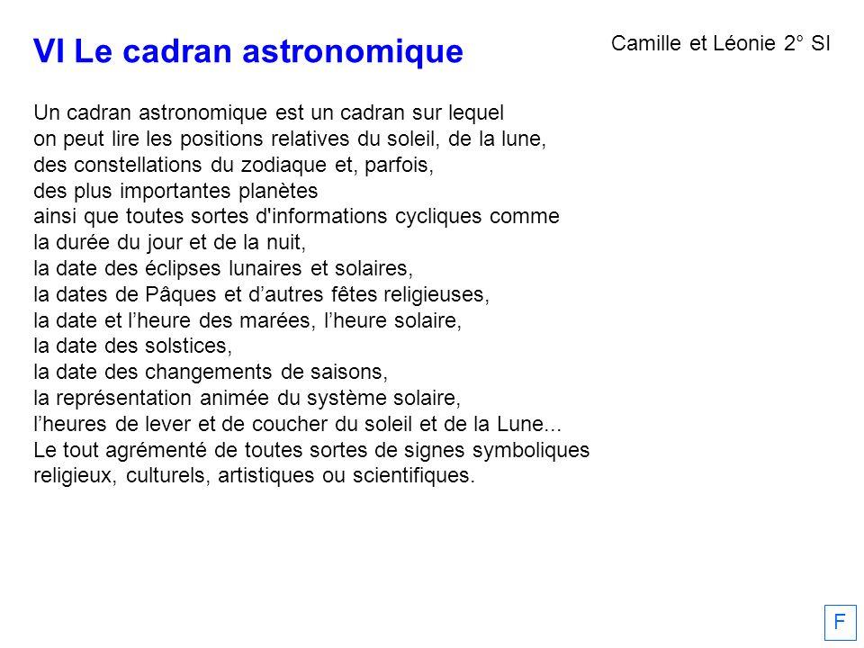 VI Le cadran astronomique Un cadran astronomique est un cadran sur lequel on peut lire les positions relatives du soleil, de la lune, des constellatio