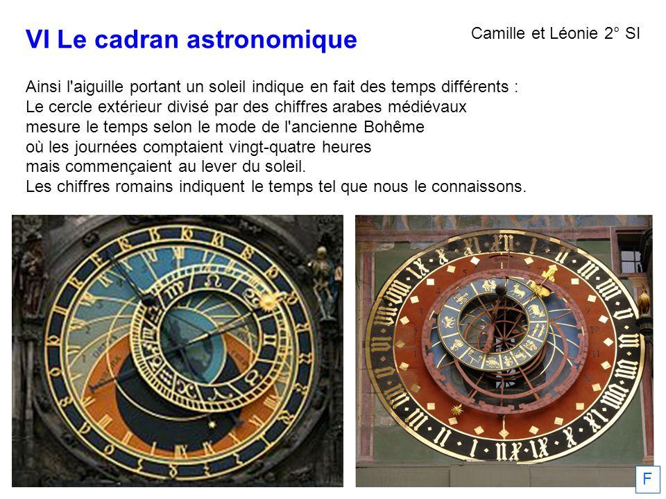 VI Le cadran astronomique Ainsi l'aiguille portant un soleil indique en fait des temps différents : Le cercle extérieur divisé par des chiffres arabes