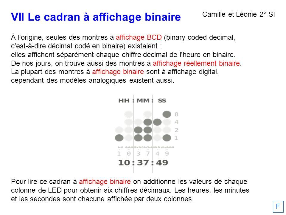 VII Le cadran à affichage binaire À l'origine, seules des montres à affichage BCD (binary coded decimal, c'est-à-dire décimal codé en binaire) existai