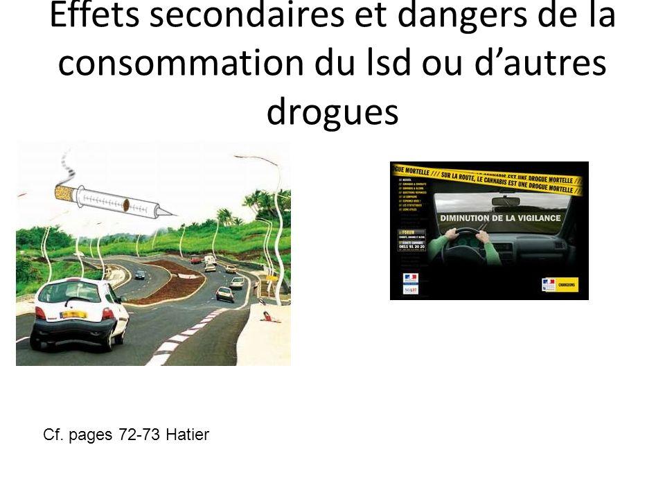 Effets secondaires et dangers de la consommation du lsd ou dautres drogues Cf. pages 72-73 Hatier