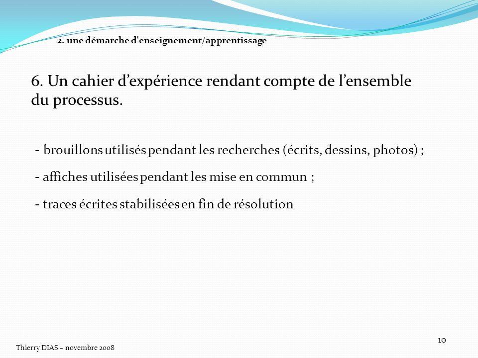 Thierry DIAS – novembre 2008 10 6. Un cahier dexpérience rendant compte de lensemble du processus. - brouillons utilisés pendant les recherches (écrit