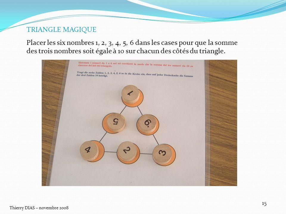 Thierry DIAS – novembre 2008 15 TRIANGLE MAGIQUE Placer les six nombres 1, 2, 3, 4, 5, 6 dans les cases pour que la somme des trois nombres soit égale