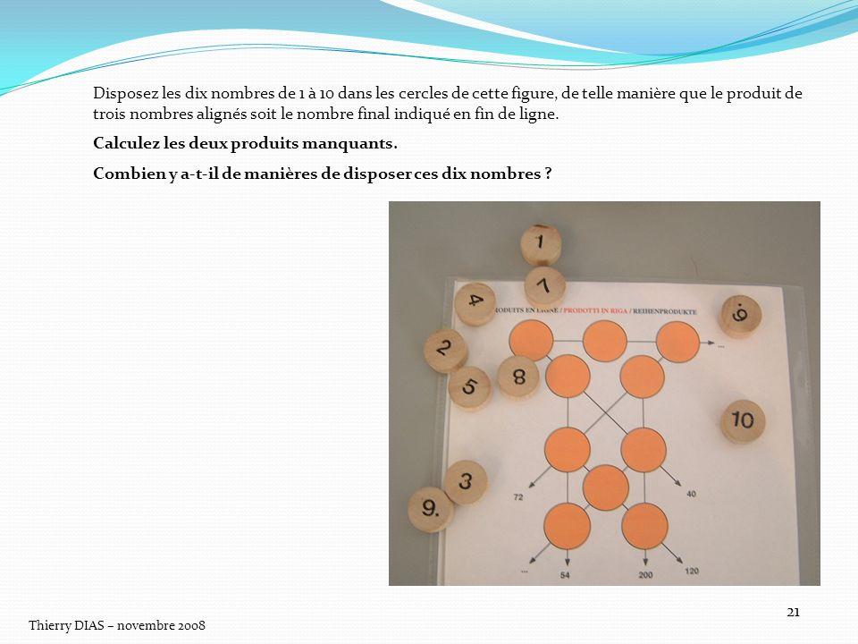 Thierry DIAS – novembre 2008 21 Disposez les dix nombres de 1 à 10 dans les cercles de cette figure, de telle manière que le produit de trois nombres
