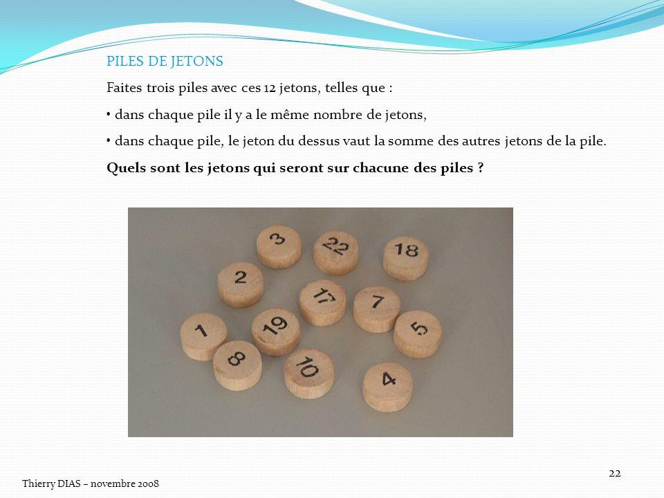 Thierry DIAS – novembre 2008 22 PILES DE JETONS Faites trois piles avec ces 12 jetons, telles que : dans chaque pile il y a le même nombre de jetons,