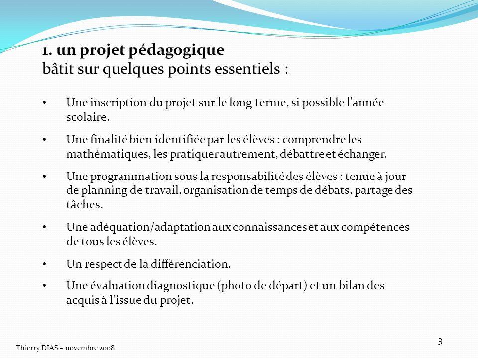 Thierry DIAS – novembre 2008 3 1. un projet pédagogique bâtit sur quelques points essentiels : Une inscription du projet sur le long terme, si possibl
