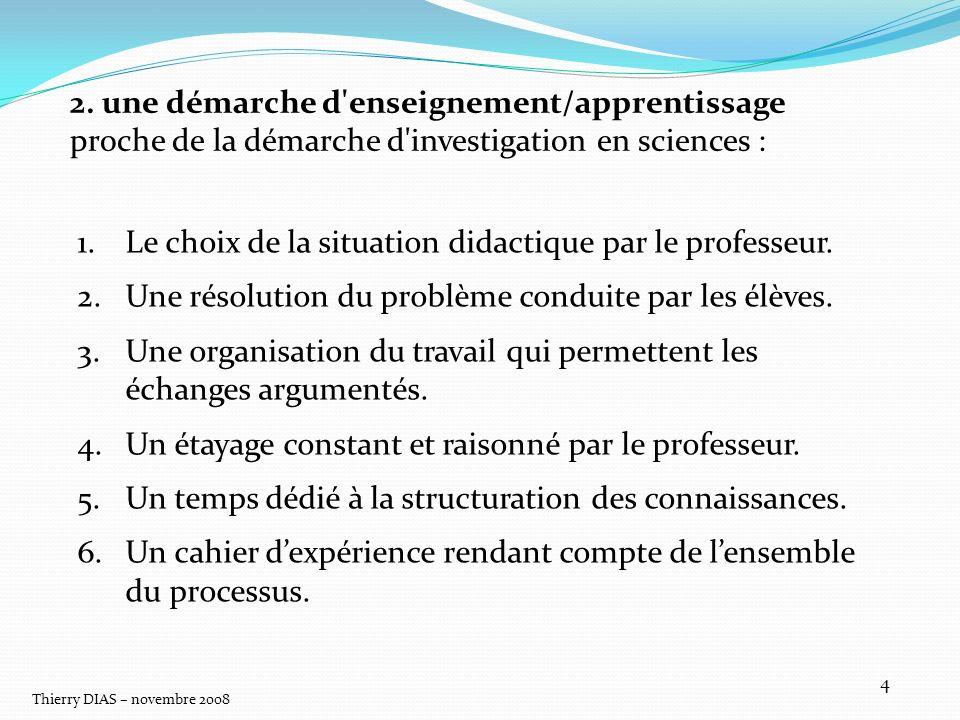 Thierry DIAS – novembre 2008 4 2. une démarche d'enseignement/apprentissage proche de la démarche d'investigation en sciences : 1.Le choix de la situa