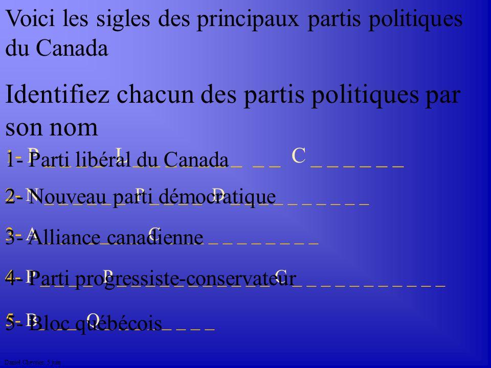 Daniel Chevrier. 5 juin Voici les sigles des principaux partis politiques du Canada 1 - P _ _ _ _ L _ _ _ _ _ _ _ _ _ C _ _ _ _ _ _ 5- B_ _ _ Q _ _ _
