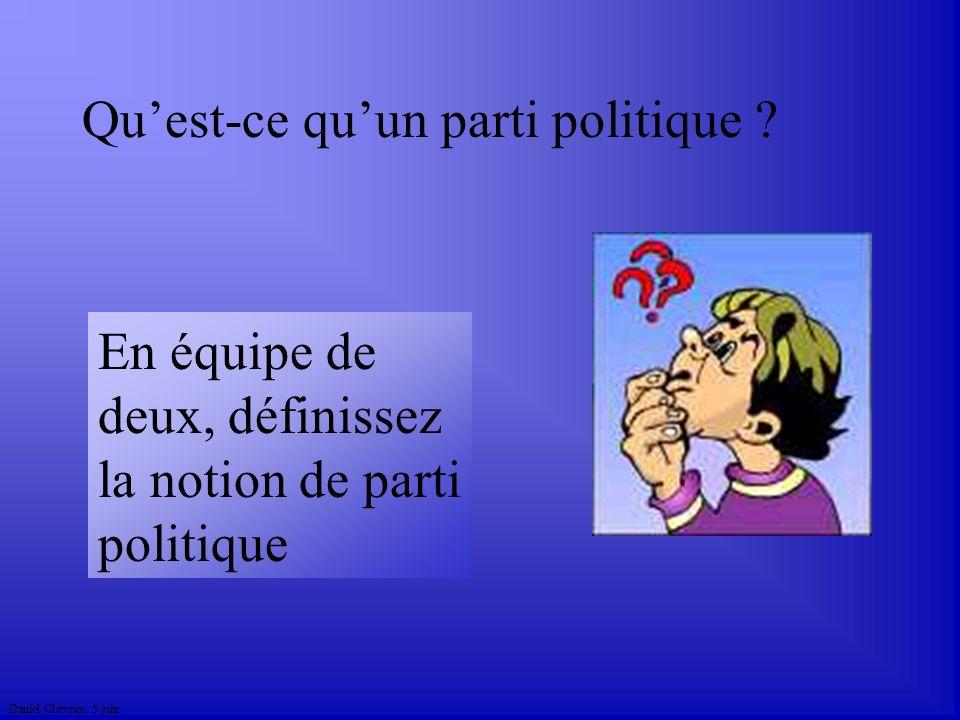 Daniel Chevrier. 5 juin Quest-ce quun parti politique ? En équipe de deux, définissez la notion de parti politique