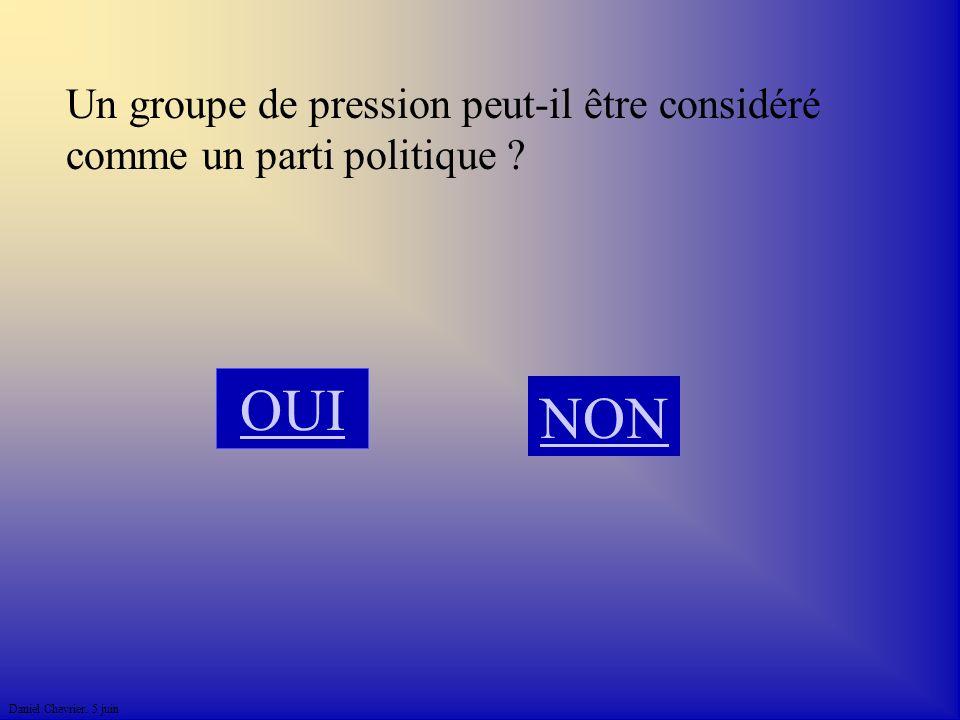 Daniel Chevrier. 5 juin Un groupe de pression peut-il être considéré comme un parti politique ? NON OUI