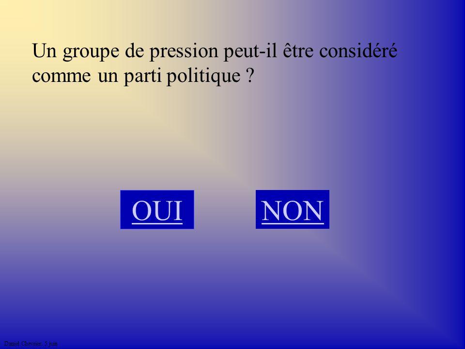 Un groupe de pression peut-il être considéré comme un parti politique NON OUI
