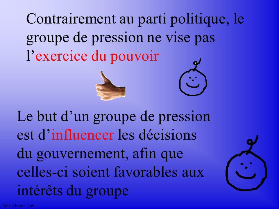 Daniel Chevrier. 5 juin Contrairement au parti politique, le groupe de pression ne vise pas lexercice du pouvoir Le but dun groupe de pression est din