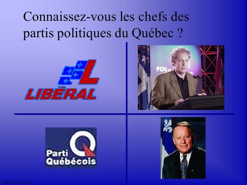 Daniel Chevrier. 5 juin Connaissez-vous les chefs des partis politiques du Québec ?
