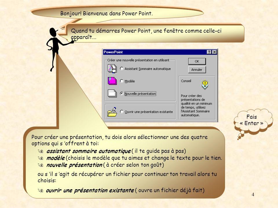 3 Microsoft Power Point est un logiciel d application de présentation.