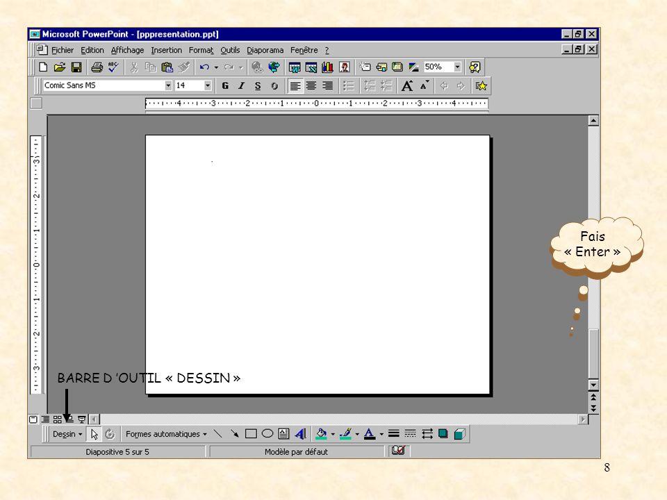 7 Avec Power Point, pour écrire du texte, il suffit d insérer une zone de texte et d écrire à l intérieur de cette zone.