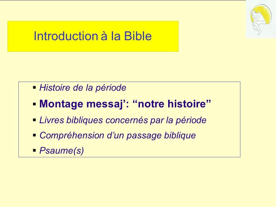 Introduction à la Bible Histoire de la période Montage messaj: notre histoire Livres bibliques concernés par la période Compréhension dun passage biblique Psaume(s)