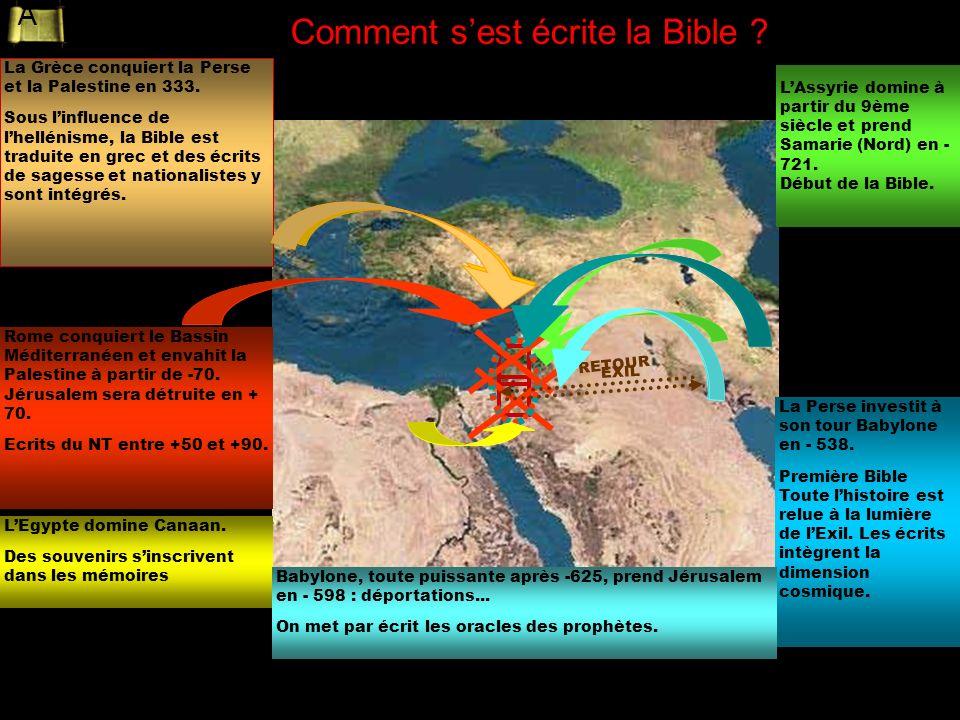 La Perse investit à son tour Babylone en - 538. Première Bible Toute lhistoire est relue à la lumière de lExil. Les écrits intègrent la dimension cosm