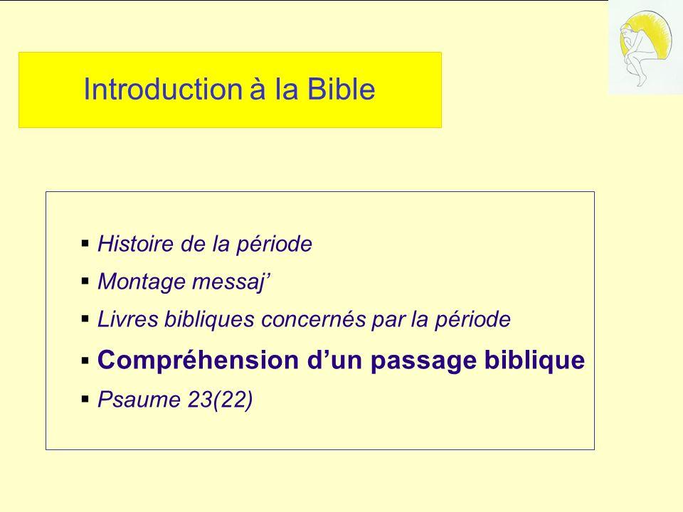 Introduction à la Bible Histoire de la période Montage messaj Livres bibliques concernés par la période Compréhension dun passage biblique Psaume 23(22)