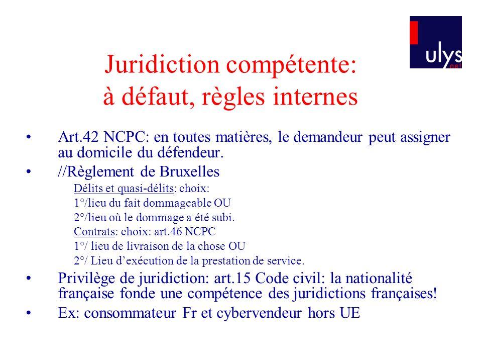 Juridiction compétente: à défaut, règles internes Art.42 NCPC: en toutes matières, le demandeur peut assigner au domicile du défendeur.