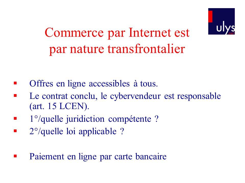 Commerce par Internet est par nature transfrontalier Offres en ligne accessibles à tous.