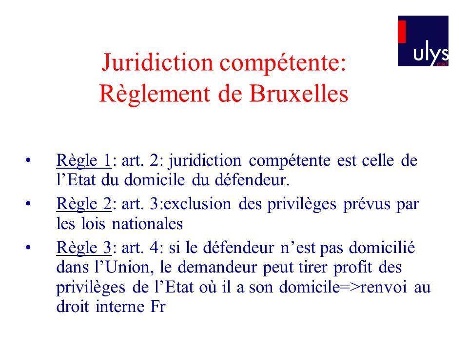 Juridiction compétente: Règlement de Bruxelles Règle 4: clause attributive de compétence est possible si un des parties est domiciliée dans un Etat membre.