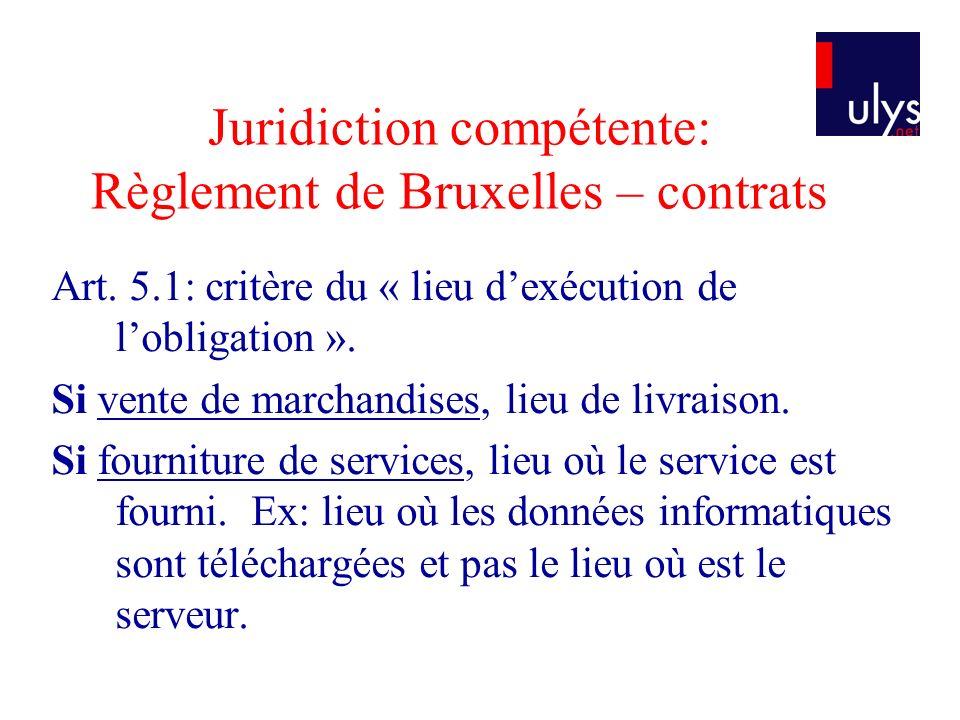 Juridiction compétente: Règlement de Bruxelles – contrats Art.