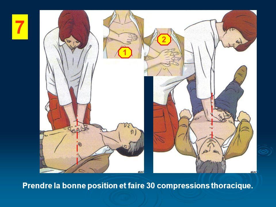 7 Prendre la bonne position et faire 30 compressions thoracique. 1 2
