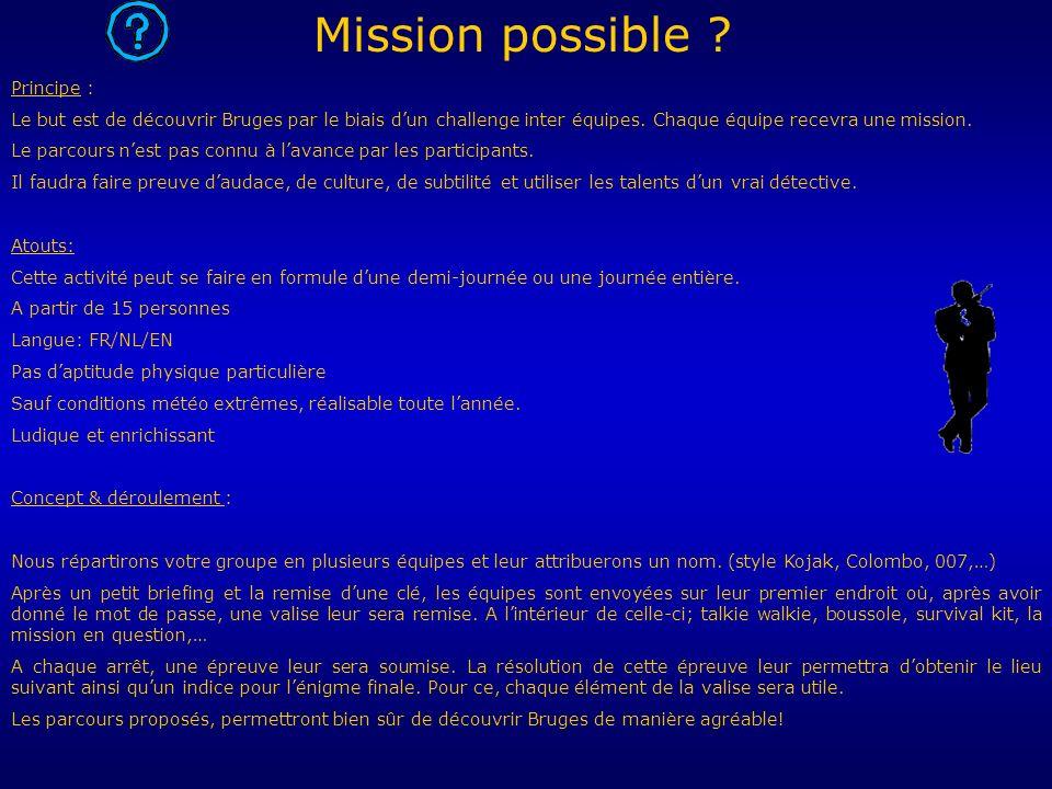 Principe : Le but est de découvrir Bruges par le biais dun challenge inter équipes.