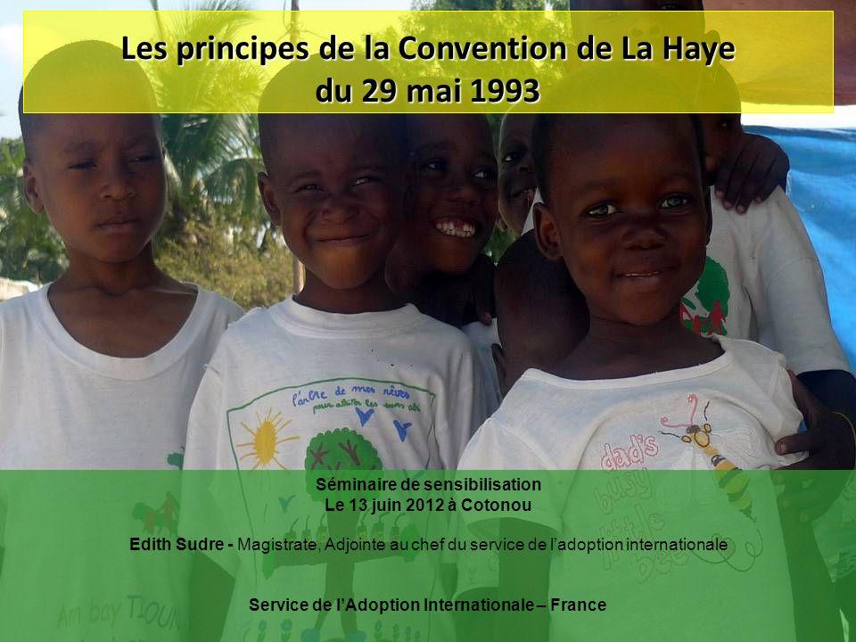 Les principes de la Convention de La Haye du 29 mai 1993 Séminaire de sensibilisation Le 13 juin 2012 à Cotonou Edith Sudre - Magistrate, Adjointe au
