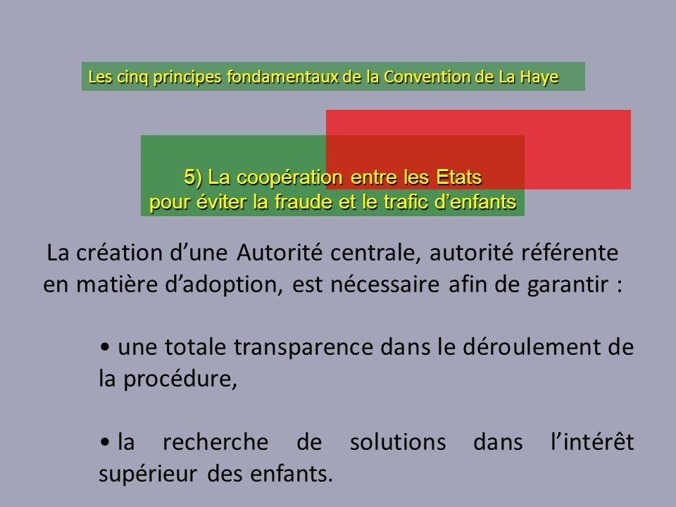 La création dune Autorité centrale, autorité référente en matière dadoption, est nécessaire afin de garantir : une totale transparence dans le déroule