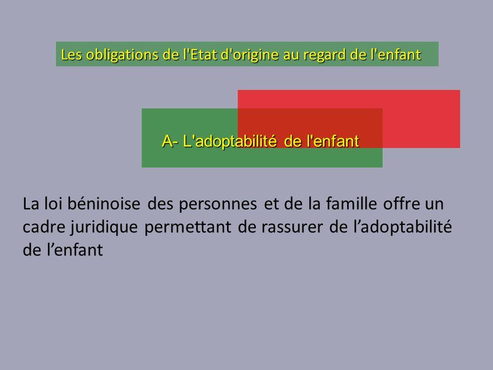 La loi béninoise des personnes et de la famille offre un cadre juridique permettant de rassurer de ladoptabilité de lenfant A- L'adoptabilité de l'enf