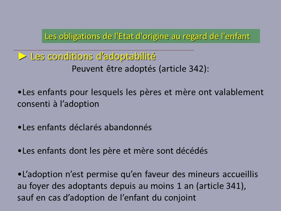 Les conditions dadoptabilité Les conditions dadoptabilité Peuvent être adoptés (article 342): Les enfants pour lesquels les pères et mère ont valablem