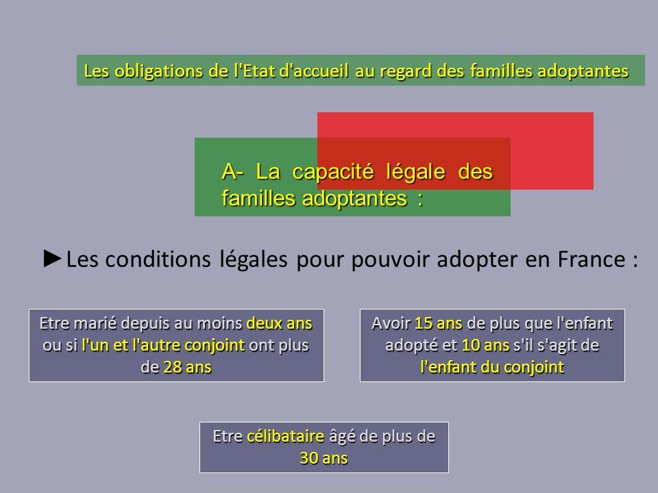 Les conditions légales pour pouvoir adopter en France : Etre marié depuis au moins deux ans ou si l'un et l'autre conjoint ont plus de 28 ans Etre cél