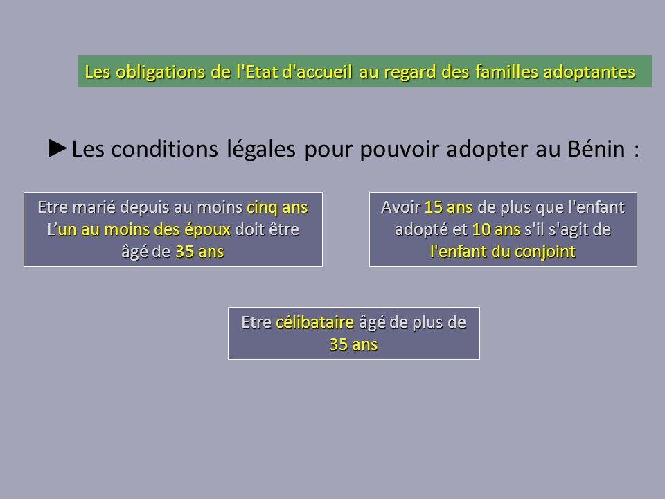 Les conditions légales pour pouvoir adopter au Bénin : Etre marié depuis au moins cinq ans Lun au moins des époux doit être âgé de 35 ans Etre célibat