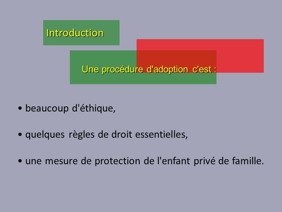 beaucoup d'éthique, quelques règles de droit essentielles, une mesure de protection de l'enfant privé de famille. Une procédure d'adoption c'est : Int