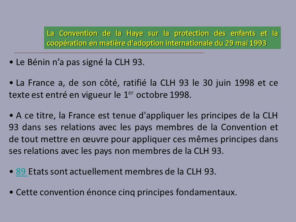 Le Bénin na pas signé la CLH 93. La France a, de son côté, ratifié la CLH 93 le 30 juin 1998 et ce texte est entré en vigueur le 1 er octobre 1998. A