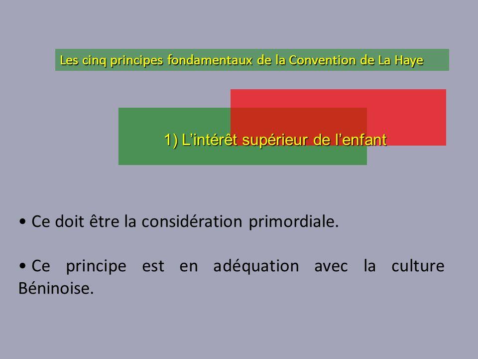Ce doit être la considération primordiale. Ce principe est en adéquation avec la culture Béninoise. 1) Lintérêt supérieur de lenfant Les cinq principe
