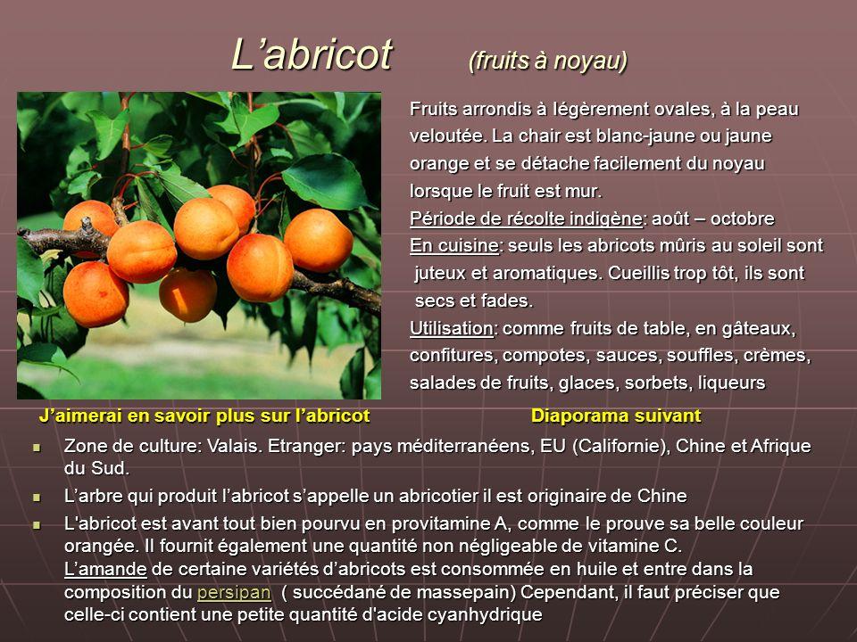 Labricot (fruits à noyau) Fruits arrondis à Iégèrement ovales, à la peau veloutée. La chair est blanc-jaune ou jaune orange et se détache facilement d