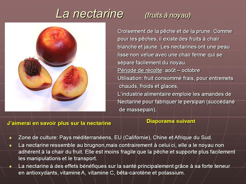 La nectarine (fruits à noyau) Croisement de la pêche et de la prune. Comme pour les pêches, il existe des fruits à chair blanche et jaune. Les nectari