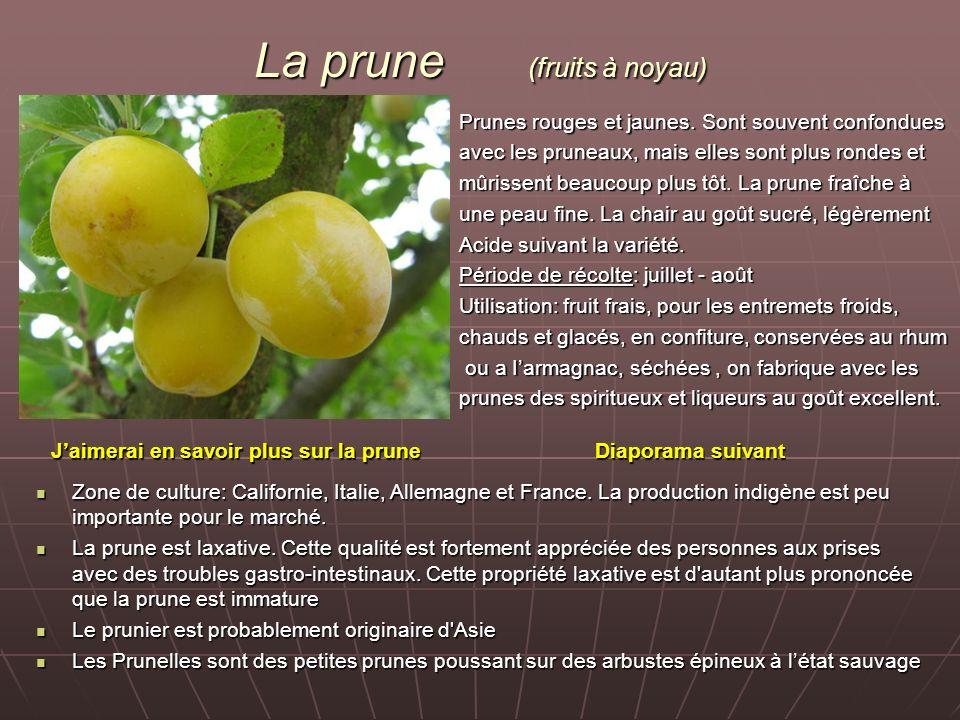 La prune (fruits à noyau) Prunes rouges et jaunes. Sont souvent confondues avec les pruneaux, mais elles sont plus rondes et mûrissent beaucoup plus t