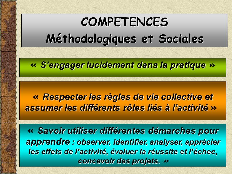 Sengager lucidement dans la pratique « Sengager lucidement dans la pratique » COMPETENCES Méthodologiques et Sociales Savoir utiliser différentes déma