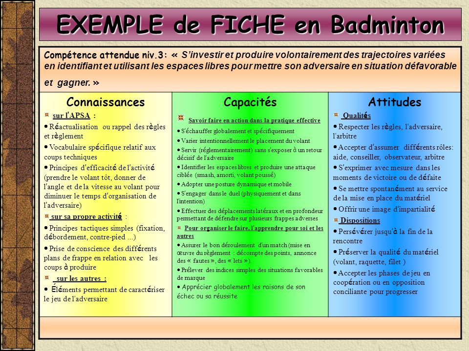 EXEMPLE de FICHE en Badminton Compétence attendue niv.3: « Sinvestir et produire volontairement des trajectoires variées en identifiant et utilisant les espaces libres pour mettre son adversaire en situation défavorable et gagner.