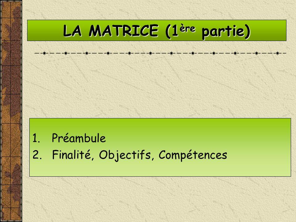 LA MATRICE (1 ère partie) 1.Préambule 2.Finalité, Objectifs, Compétences