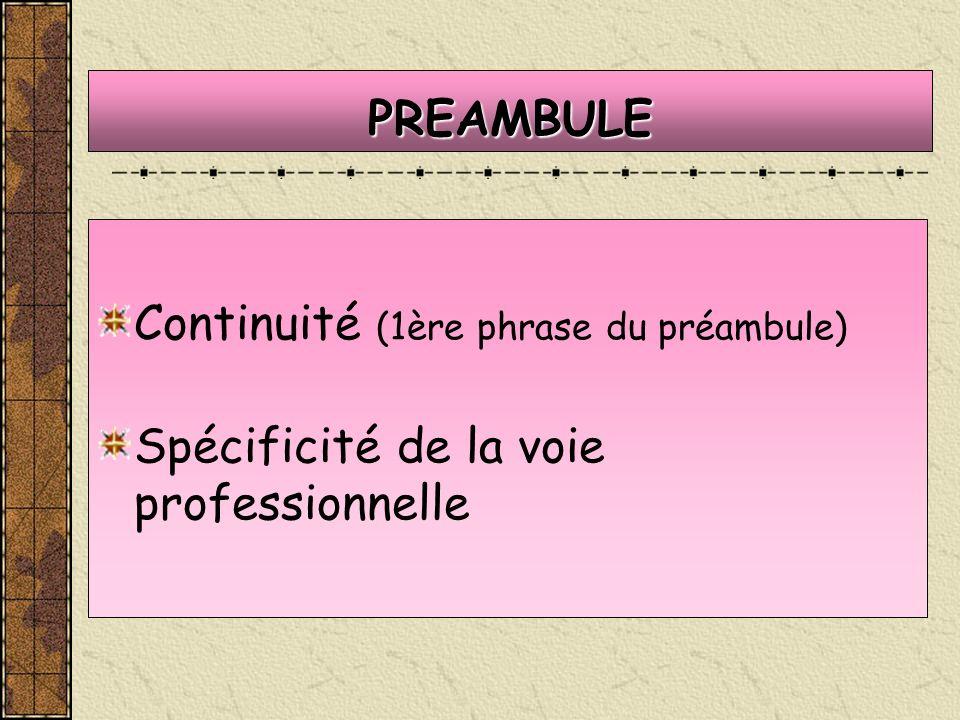 PREAMBULE Continuité (1ère phrase du préambule) Spécificité de la voie professionnelle