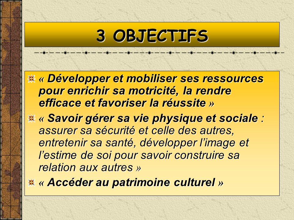 3 OBJECTIFS « Développer et mobiliser ses ressources pour enrichir sa motricité, la rendre efficace et favoriser la réussite » « Savoir gérer sa vie p