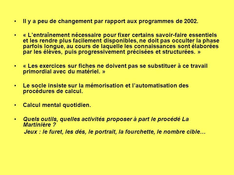 Il y a peu de changement par rapport aux programmes de 2002. « Lentraînement nécessaire pour fixer certains savoir-faire essentiels et les rendre plus