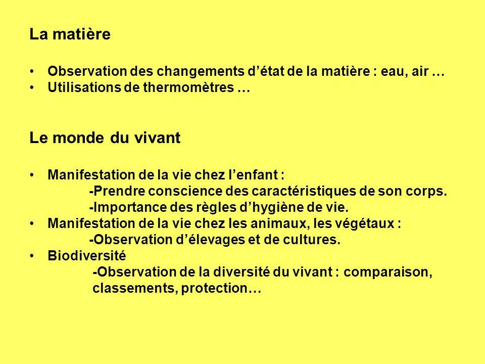 La matière Observation des changements détat de la matière : eau, air … Utilisations de thermomètres … Le monde du vivant Manifestation de la vie chez