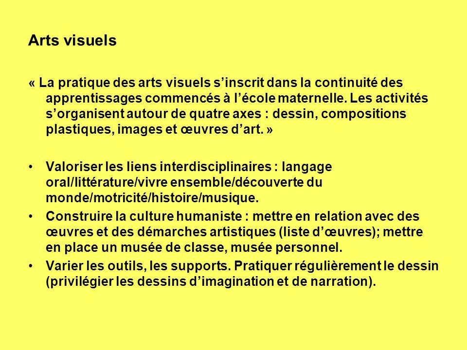 Arts visuels « La pratique des arts visuels sinscrit dans la continuité des apprentissages commencés à lécole maternelle. Les activités sorganisent au