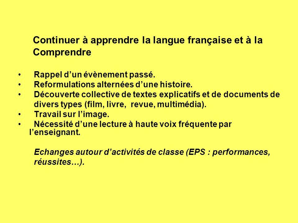 Continuer à apprendre la langue française et à la Comprendre Rappel dun évènement passé. Reformulations alternées dune histoire. Découverte collective