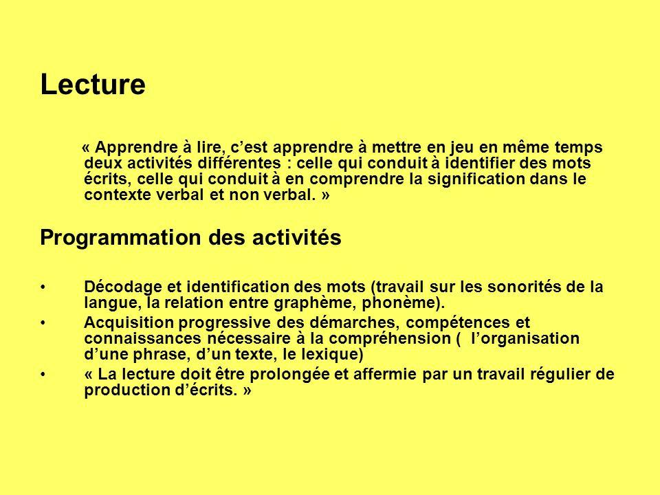 Lecture « Apprendre à lire, cest apprendre à mettre en jeu en même temps deux activités différentes : celle qui conduit à identifier des mots écrits, celle qui conduit à en comprendre la signification dans le contexte verbal et non verbal.